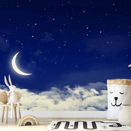 Nursery Paper photo wallpaper Cloudy night sky with Moon
